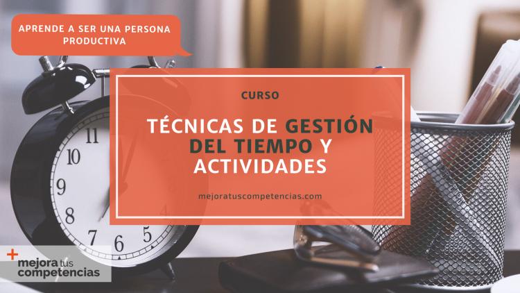 Banner curso de técnicas de gestión del tiempo y actividades