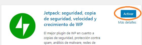 Activar plugin Jetpack