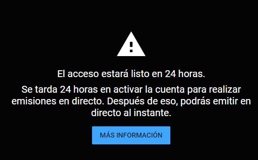 Para obtener la clave para restransmitir en youtube se deben esperar 24 horas