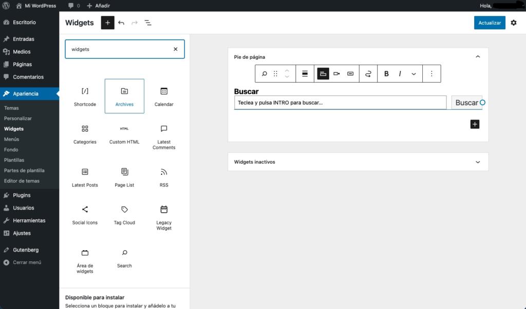 Interfaz del editor de bloques para widgets